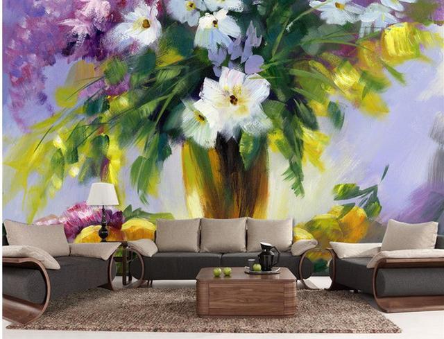 Tapete Moderne 3d Bad 3d Wallpaper Blumen Stillleben Gemälde TV Hintergrund  Wohnzimmer 3d Wallpaper Benutzerdefinierte
