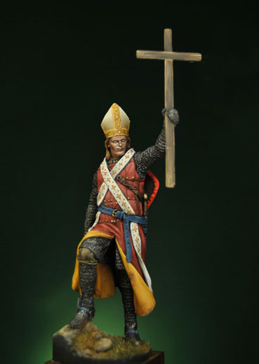 Assembly Unpainted <font><b>Scale</b></font> <font><b>1/24</b></font> 75mm Bishop Warrior - XIII Century soldier <font><b>figure</b></font> Historical Resin Model Miniature Kit image