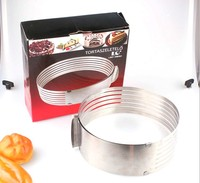Free Shipping 24 30CM Stainless Steel Adjustable Slicing Flexible Circular Mousse Ring Cake Mold