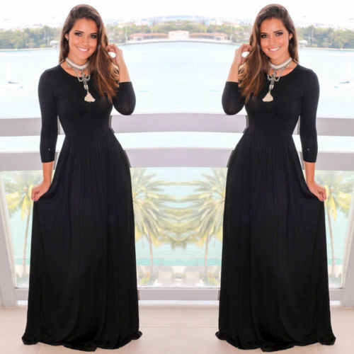 ae9d6044ca6 Thefound New Autumn Style Sexy Women Formal Prom Long Black Dress Evening  Party Beach Long Sleeve Maxi Dress V Neck O Neck-in Dresses from Women s  Clothing ...