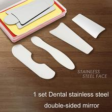 1set Dental Orthodontic Intraoral Photographic Reflector Mirror Double Sided Stainless Steel Dentistry Material Dentist Tools dental dentist oral clinic 4in1 orthodontic intraoral stainless steel photographic mirror reflector