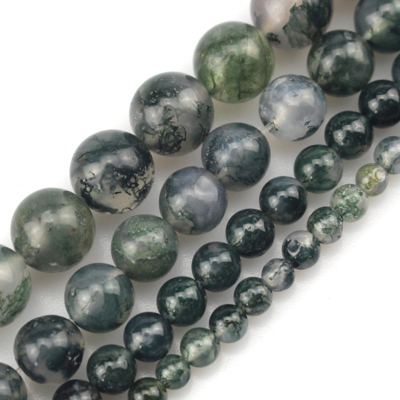 "6mm 8mm 10mm moss agates beads natural stone beads DIY loose beads for jewelry making strand 15"" free shipping wholesale"