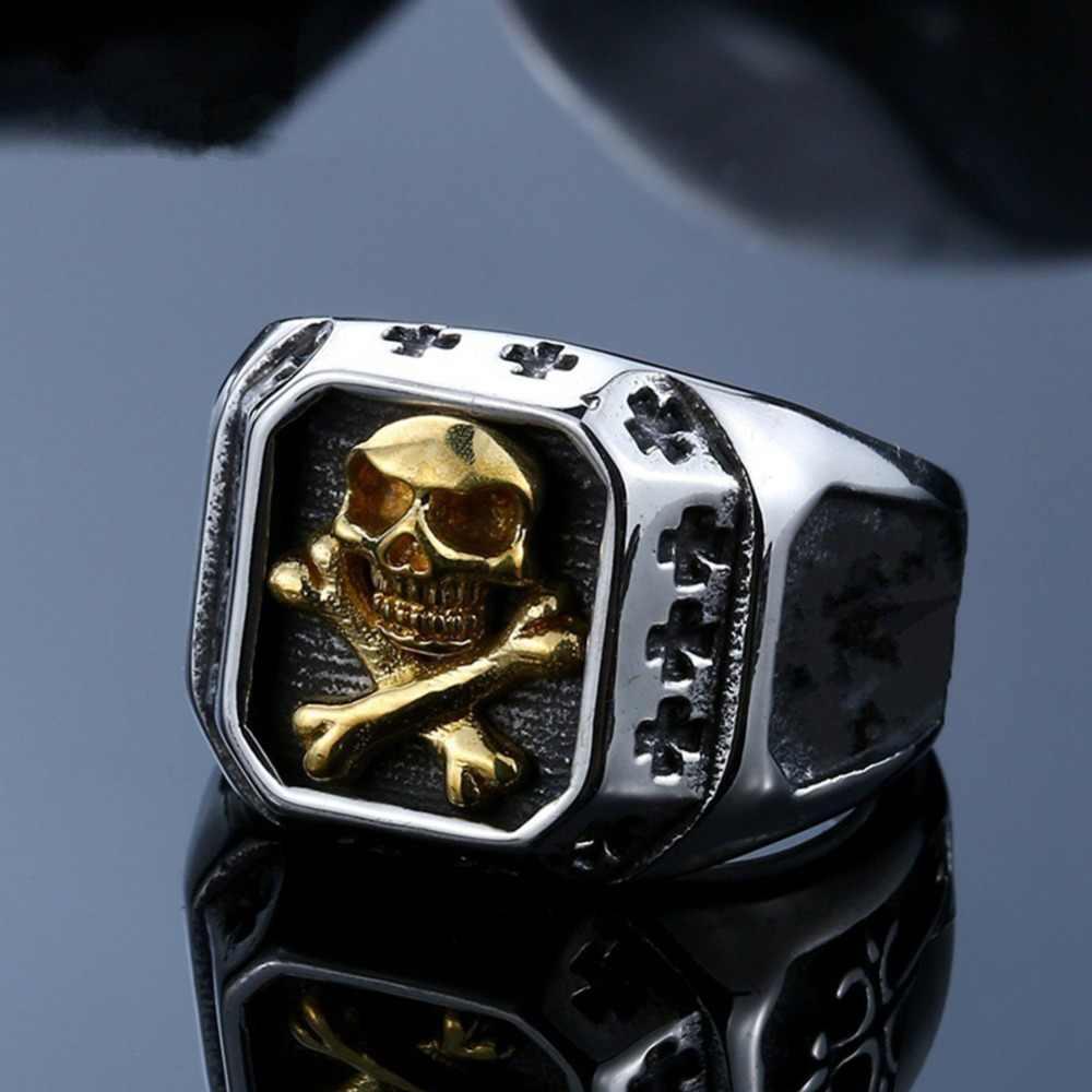 LMIKNI Gothic Punk แหวนผู้ชายเครื่องประดับอุปกรณ์เสริม 2019 แฟชั่น Vintage Statement Hip Hop Skull แหวนผู้ชาย Drop Shipping