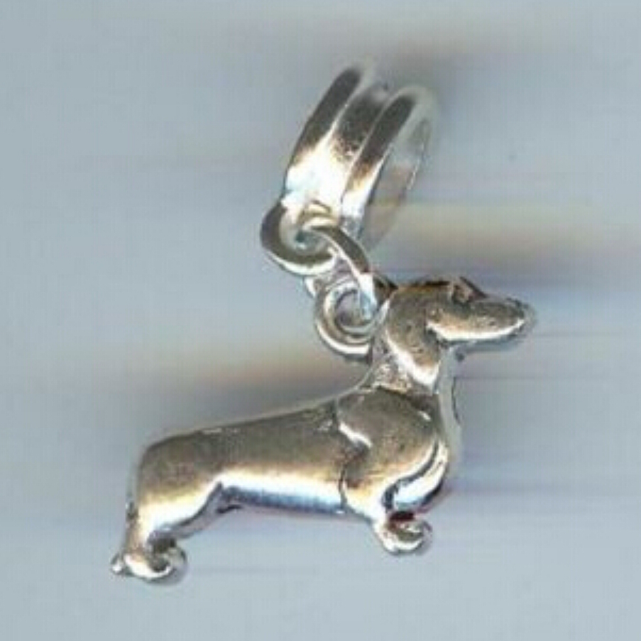 Fashion Dangle Charm Tibetan Silver Greyhound Dog Dachshund Dog Pendant With Macroporous Beads Connector Accessories Jewelry q21