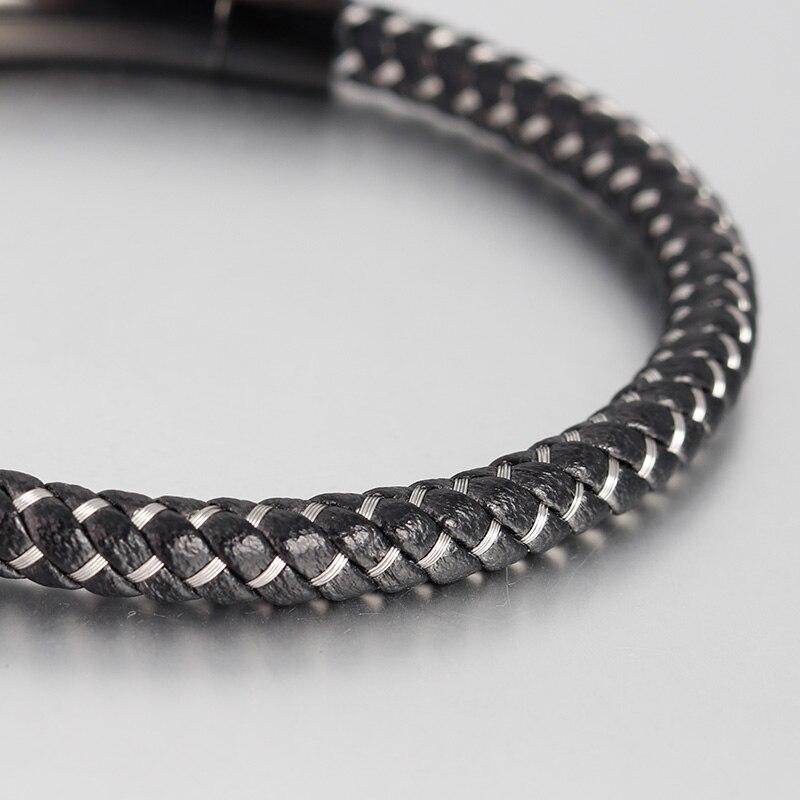 Bracelets En Cuir Véritable Bracelets Avec Câble En Acier Inoxydable C Fermoirs Bracelets de Manchette Pour Homme Femme Bracelets 6