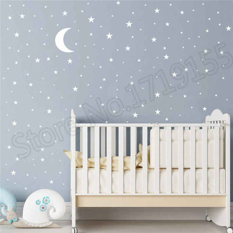 Moon And Stars Wall Decal Good Night Nursery Decor Vinyl Sticker Picture Pattern For Kids Boy S Baby Room Mural Zw118