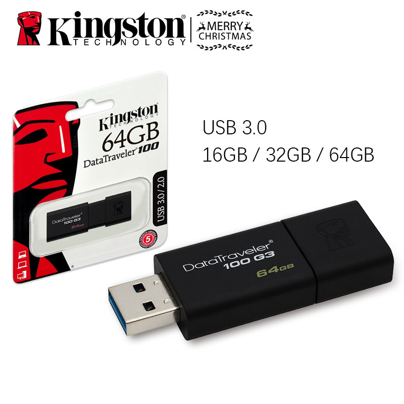 Original de alta velocidad USB 3,0 de Kingston DataTraveler 100 G3 Flash Drive 16 GB 32 GB 64 GB 16 32 64 GB Pendrive Stick Pen Drive DT100G3