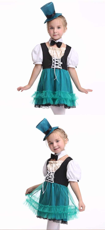 Хэллоуин костюмы горничной Детские Алиса в стране чудес костюм служанки Лолита Необычные платья Косплэй костюм для девочки