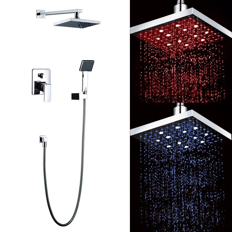 Superfaucet bathroom showers in wall 8 inch LED shower head set brass chrome rain shower set faucet Shower lights freeshipping brass 10 inch led shower head led shower temperature led water led bathroom faucet shower