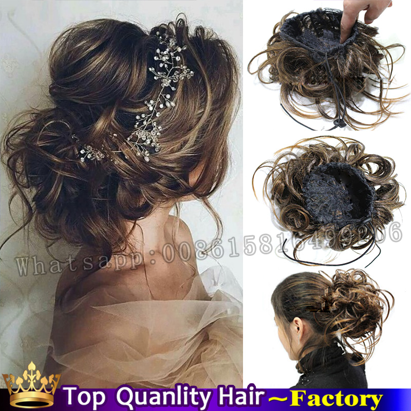 Fake Bun Hair Pieces Clip In Bun Chignon Hairpiece Synthetic Hair Bride Wedding Hairstyles ...
