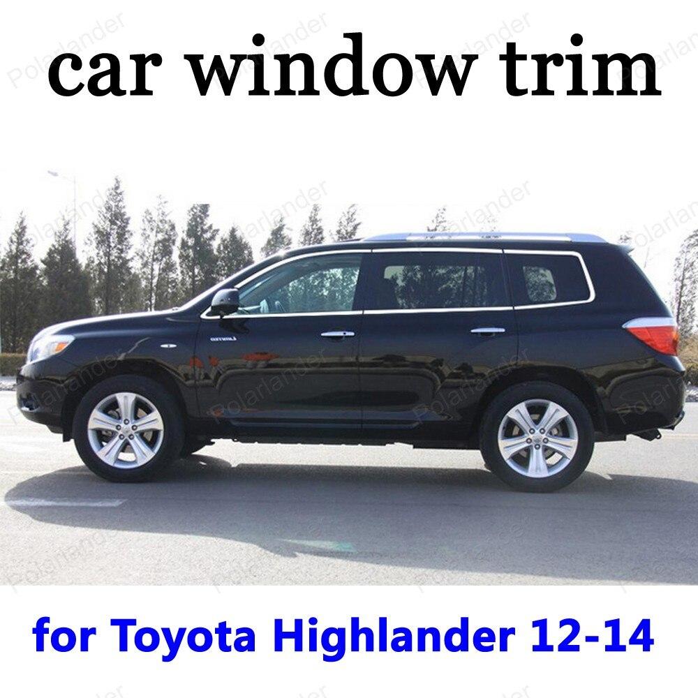 Window Trim Car Exterior Accessories Decoration Strips for Toyota Highlander 2012 2013 2014 Stainless Steel