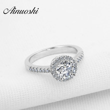 AINUOSHI Luxury 1 Carat SONA Round Cut Halo Rings 925 Sterling Silver Engagement Wedding Woman Bridal Rings Christmas Jewelry
