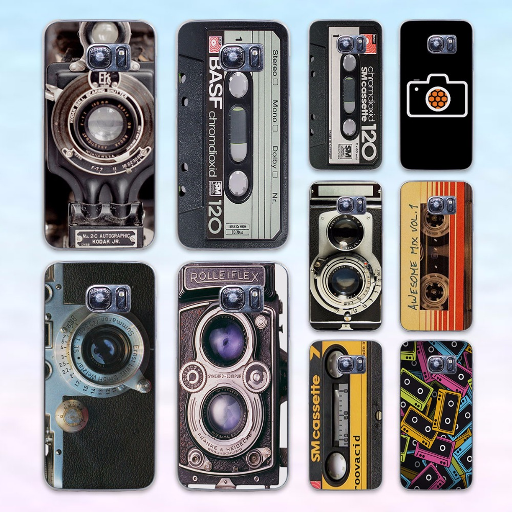 Vintage Camera audio tape cassettle style transparent clear hard case cover for Samsung Galaxy s6 s7 edge s4 s5 mini note 4 note