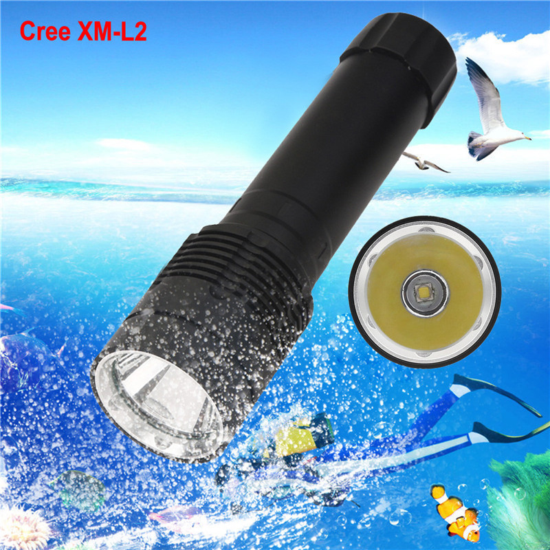 B2 XM-L2 LED Scuba Diving Flashlight Torch 26650 Light Underwater 100m Bicycle Light Hiking Camping High Quality Hunting Durable купить