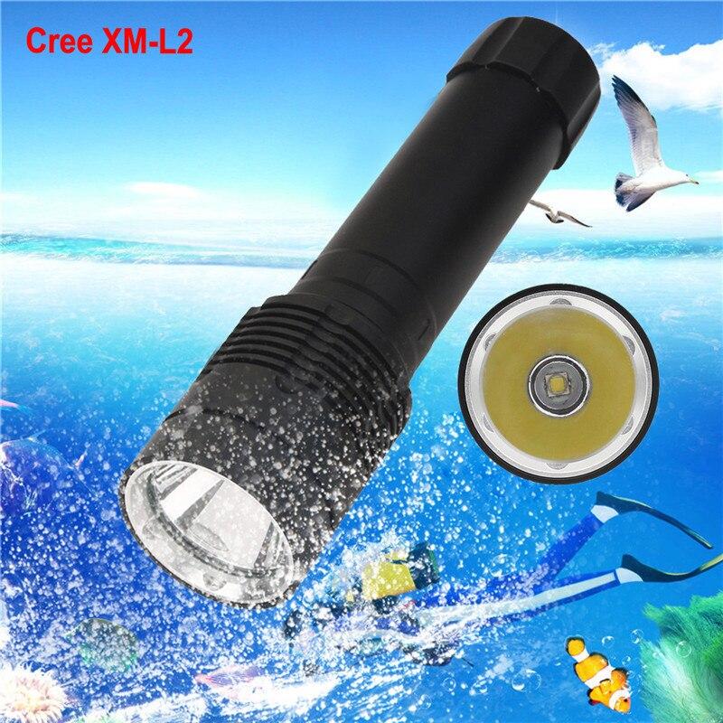 B2 XM-L2 LED Scuba Diving Flashlight Torch 26650 Light Underwater 100m Bicycle Light Hiking Camping High Quality Hunting Durable