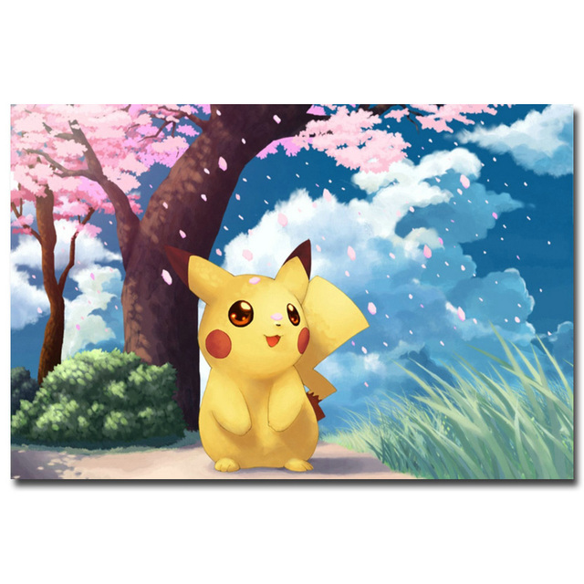 Аниме плакат гобелен шелковый Пикачу покемоны