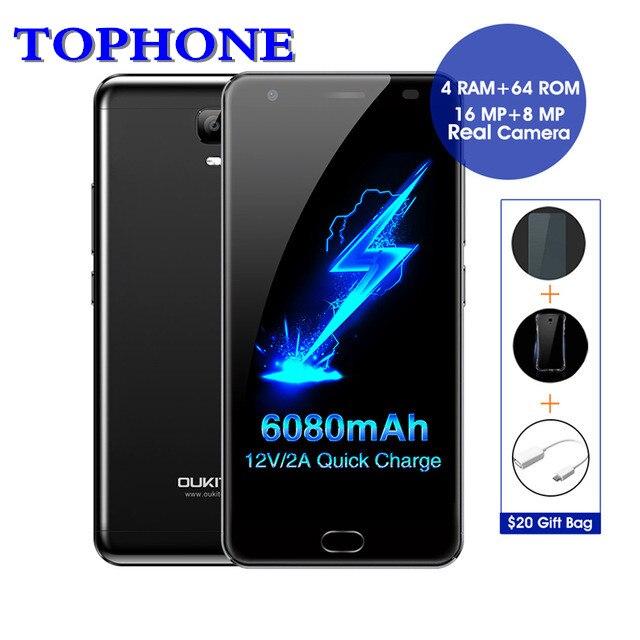 Oukitel K6000 Plus RAM 4 gb ROM 64 gb mobile téléphone Android 7.0 MTK6750T Octa Core 5.5 FHD 6080 mah D'empreintes Digitales 4g 16.0MP Smartphone