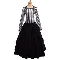Retro Gothic Victorian White Black Stripe Dress Steampunk Reenactment Costume