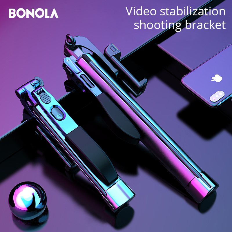 Video Stabilizer Selfie Stick Tripod For IPhone Xiaomi Huawei Gimbal Bluetooth Tripod Selfie Stick Fill Light For Mobile Phone