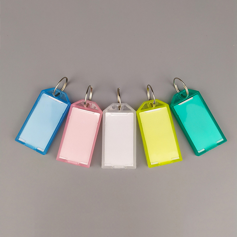 20Pcs ID Tags Label Name Card Label Keychain Key Ring Holder Language Label Colorful Key Hotel Car Classification Card HC-17