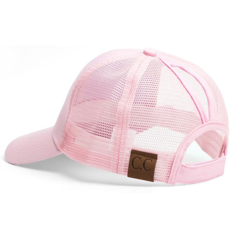 91fca112586 CC Ponytail Baseball Cap Women Messy Bun Baseball Hat Summer Mesh Trucker  Hat Snapback Girl Glitter