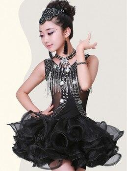 Sequined Tassels  Children Latin Dance Costumes Black Latin Dance Skirt Girls' Performances Competition