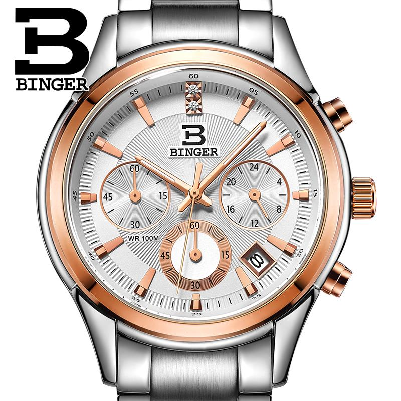 Switzerland BINGER men's watch luxury brand Quartz waterproof men watches full stainless steel Chronograph clock BG6019-M5 switzerland watches men luxury brand men s watches binger luminous automatic self wind full stainless steel waterproof b5036 10