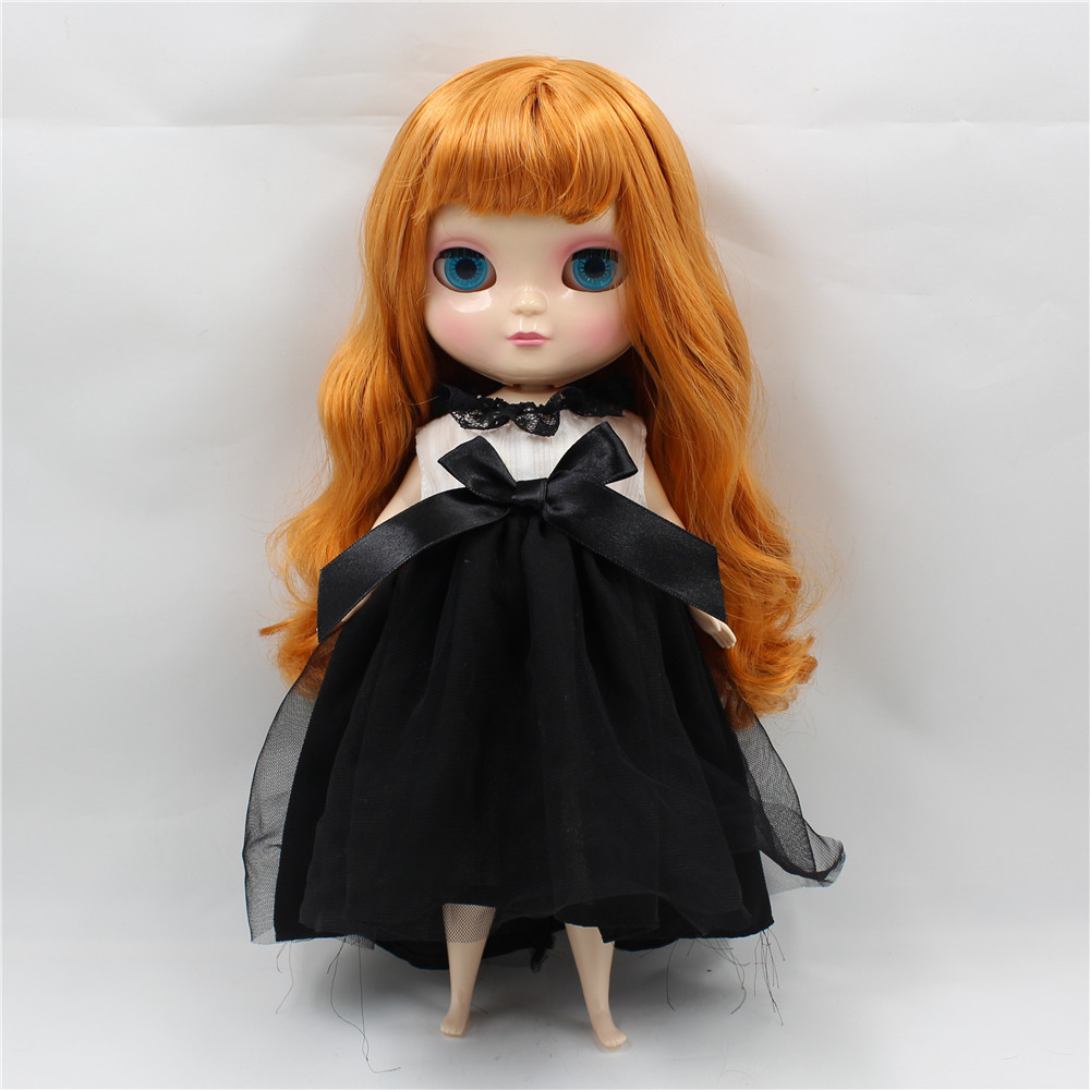 free shipping fortune days ICY doll long wavy orange hair with bangs fringes plump body fat
