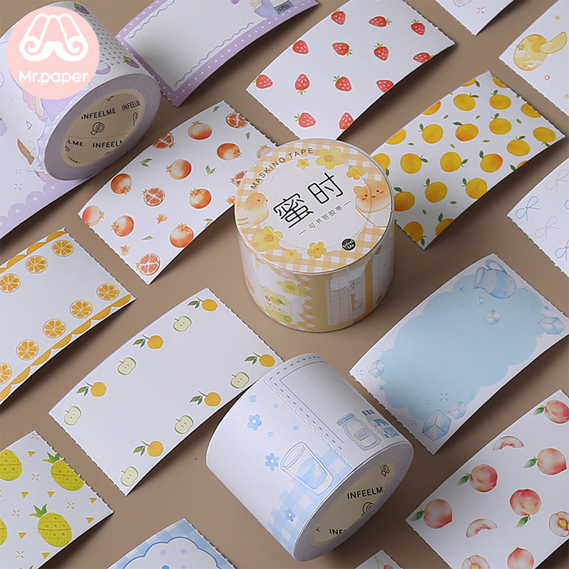 Mr Paper 8 Designs Creative Sweet Cartoon Bullet Journaling Write-on Washi Tapes Deco Sticker Masking Tapes Easy To Tear 40mmx5m