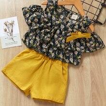 Girls Summer Clothing Sets 2019 Kids Flower Pattern Sleeveless T-shirt+ Short Pants 2Pcs Children Clothes