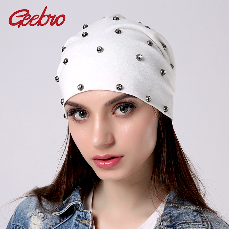 Geebro Women's   Beanie   Hat Fashion Rhinestones   Skullies     Beanies   For Girls Cotton Slouchy Gorras Hats Women Knitted Female Hat