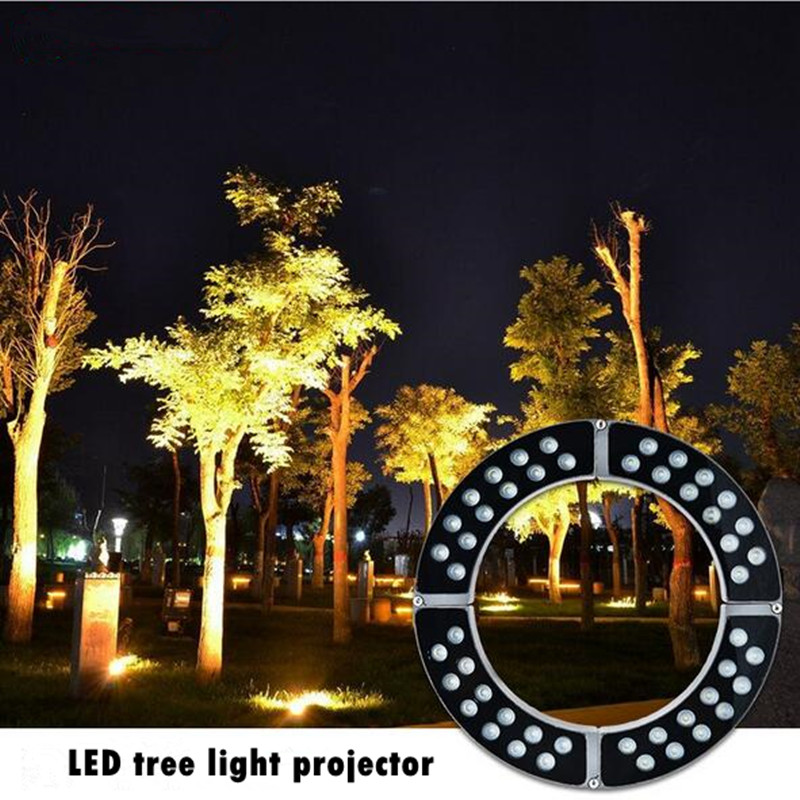 LED Landscape Tree Light Outdoor Spotlight AC220V DC24V 36W 48W 60W DMX512RGB High Power Gazebo Tree Column Garden Illumination