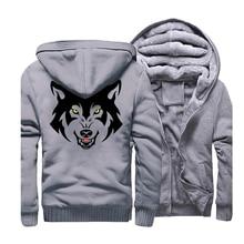 Animal Funny Hoodies Men 2019 Fleece Wolf Printed Mens Hooded Casual Gray Sweatshirt Hip Hop Streetwear Zip Up Coat CM01