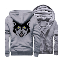 Animal Funny Hoodies Men 2019 Fleece Animal Wolf Printed Mens Hooded Casual Gray Sweatshirt Hip Hop Streetwear Zip Up Coat CM01