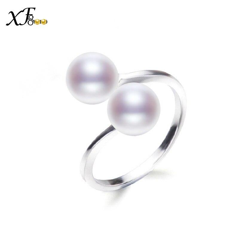 [XF800] Pearl Rings Real Fresh Pearl Pearl Jewelry Trendy White Black - Fine smykker