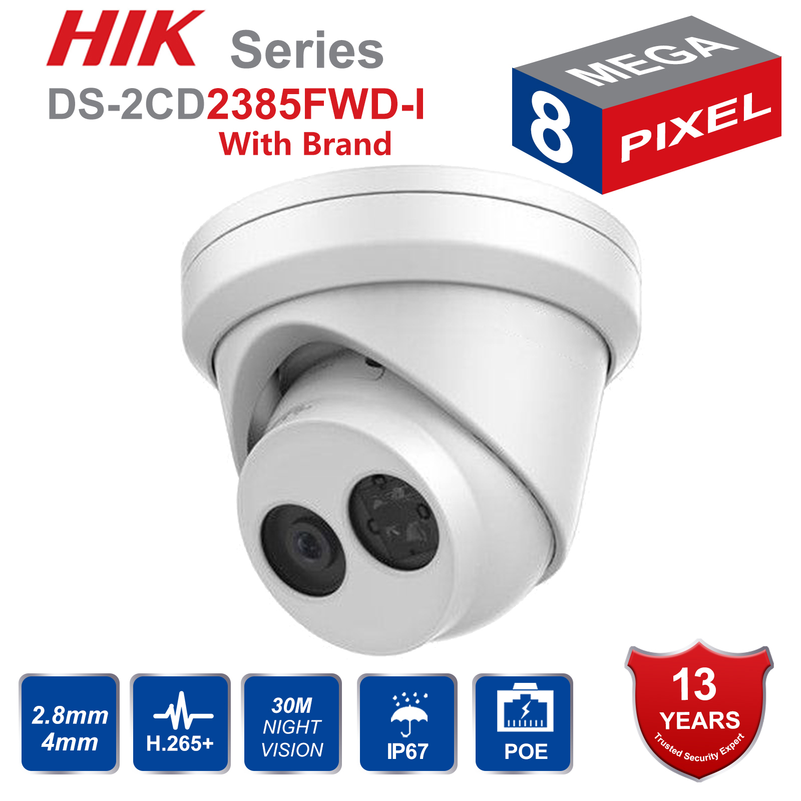 HIK English version DS 2CD2385FWD I 8MP mini network turret CCTV security camera POE 30M IR