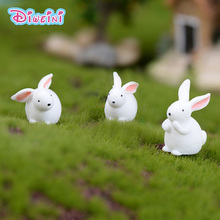 5pcs white rabbits hare Model Animal action Figures Miniature Figurine home Garden Dollhouse Decoration DIY Accessory toy gift