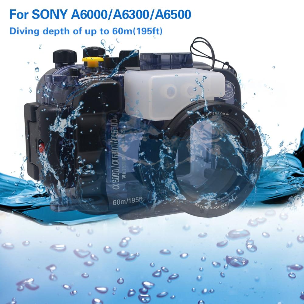 Mcoplus 40 m 130ft caméra de plongée boîtier étanche sac pour Sony A6000 A6300 A6500 caméra avec objectif 16-50mm