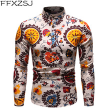 FFXZSJ Brand 2019 high quality mens casual stand collar national style shirt European size s-2xl Mens long-sleeved shirts
