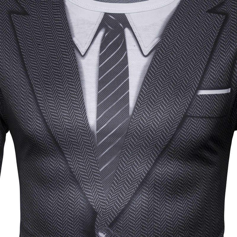 Falso traje 3D imprimir camiseta hombres 2017 otoño O cuello hombres camiseta divertida Harajuku Slim Fit masculino camiseta Hip Hop Camisetas masculinas