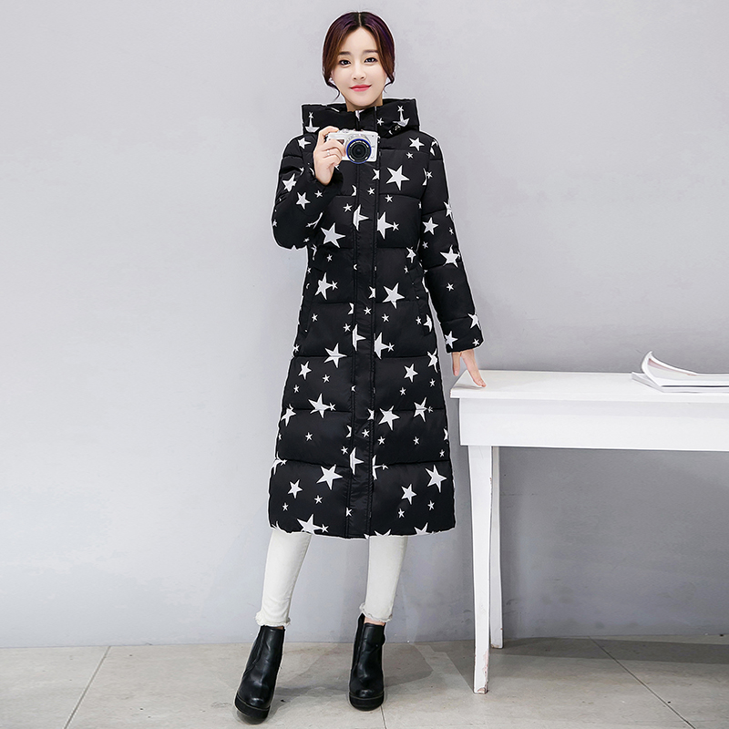 KUYOMENS  Winter Cotton Padded Jacket Women Slim Thick Stars Print Female Coat Parka Warm Winter Long Jackets Ladies Overcoat kuyomens 2017 women winter jacket coat cotton hooded thick warm loose women basic coats bomber jacket female autumn women coat