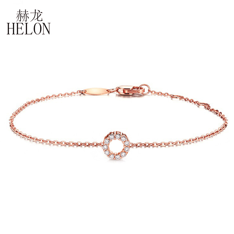 HELON Solid 18k Rose Gold Certified Round 0.12ct SI/H Full Cut Natural Diamonds Engagement Bracelet Chain For Women Fine Jewelry