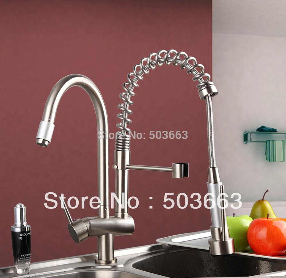 Brushed Nickel Double Handles Spray Stream Brass Water Kitchen Swivel Spout Pull Out Vessel Sink Deck Mounted Mixer Tap Faucet deck mount spray stream double handles chrome brass water kitchen faucet swivel spout pull out vessel sink mixer tap mf 278