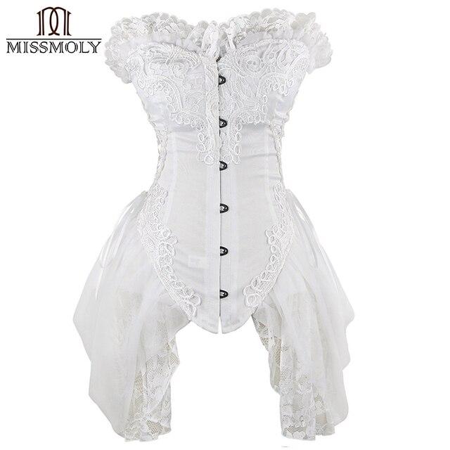 3c05fb5a5 Miss Moly Sexy Burlesque Robe De Mariage Corsets Bustier Top Blanc de  Mariée Taille Formateur Corset
