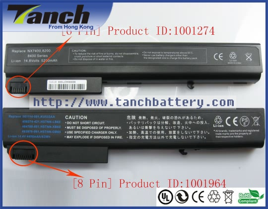 Batterie ordinateur portable pour HP EliteBook 8530 p HSTNN-LB60 8730 w 8540 p KU533AA 501114-001 484788-001 8740 w 14.4 V 8 cellules