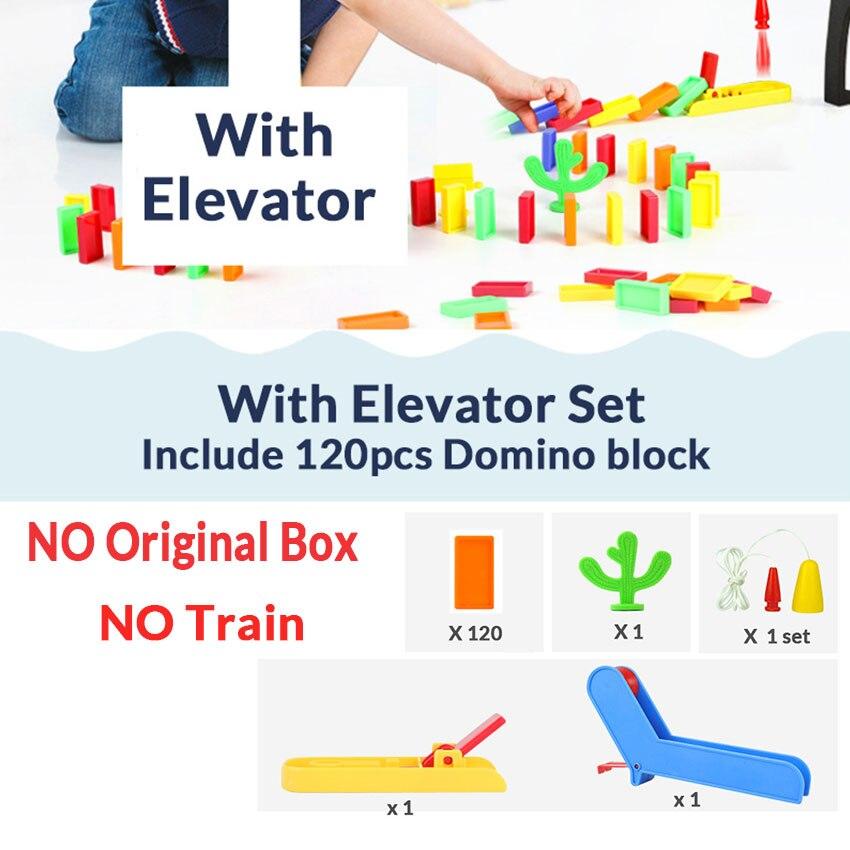Автоматическая укладка домино кирпич Поезд Автомобиль набор звуковой светильник дети красочные пластиковые блоки домино игра игрушки набор подарок для девочек и мальчиков - Цвет: Elevator set N