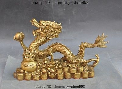 Chinese fengshui Brass wealth Treasure bowl dragon beast play bead Lucky statue
