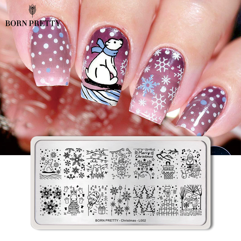 born pretty christmas nail stamping plate polar bear. Black Bedroom Furniture Sets. Home Design Ideas