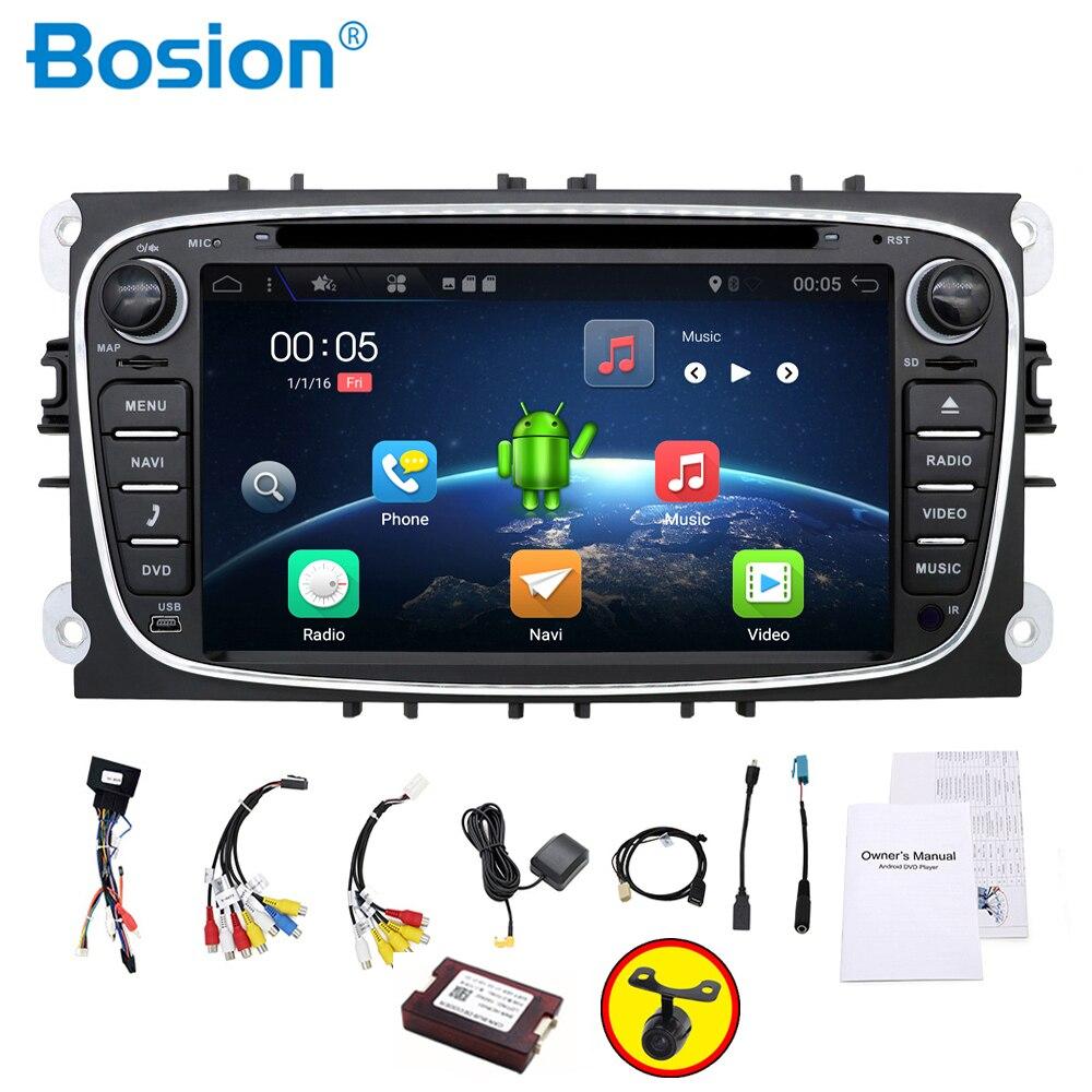 Radio del coche 2 din Android 7,1 coche dvd reproductor de cassette para ford focus 2 coches grabadora de cinta de navegación gps con wifi volante