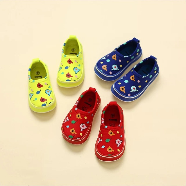 2016 Autumn fashion slip-on stretch canvas Graffiti cartoon infantil tenis loafers boy sneakers casual children baby girls shoes